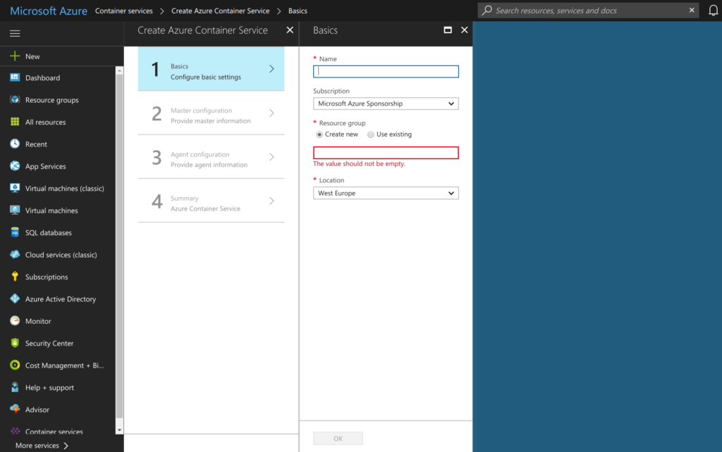 Azure Container Service for Kubernetes webinterface